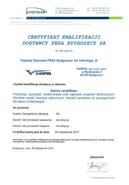 Jestesmy kwalifikowanym dostawcą dla PESA