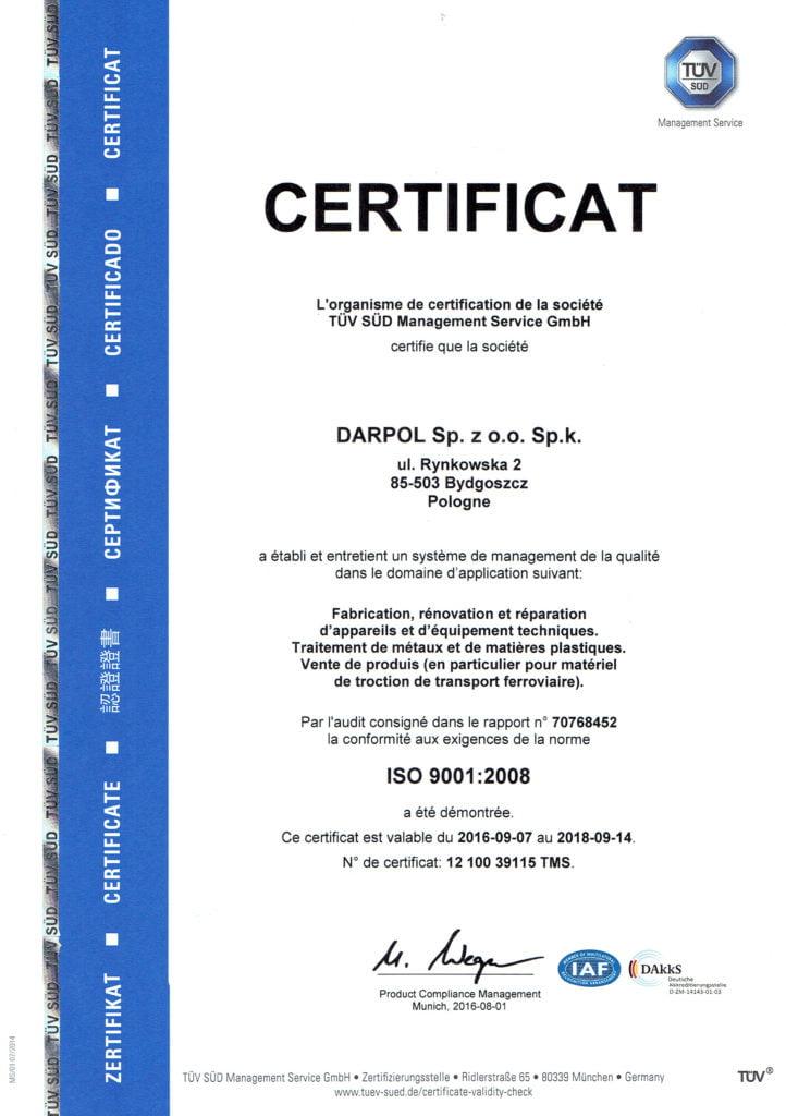 CERTYFIKAT ISO 2016 FR