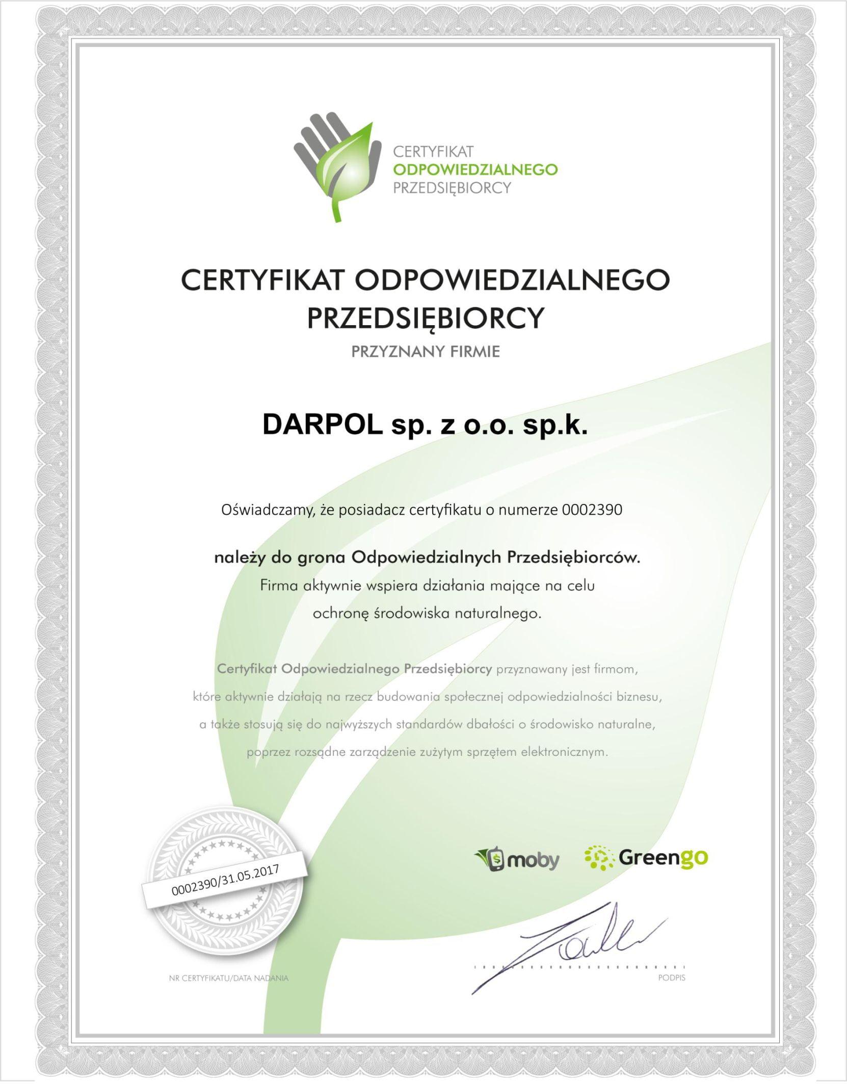 DARPOL Bydgoszcz - odpowiedzialny przedsiębiorca