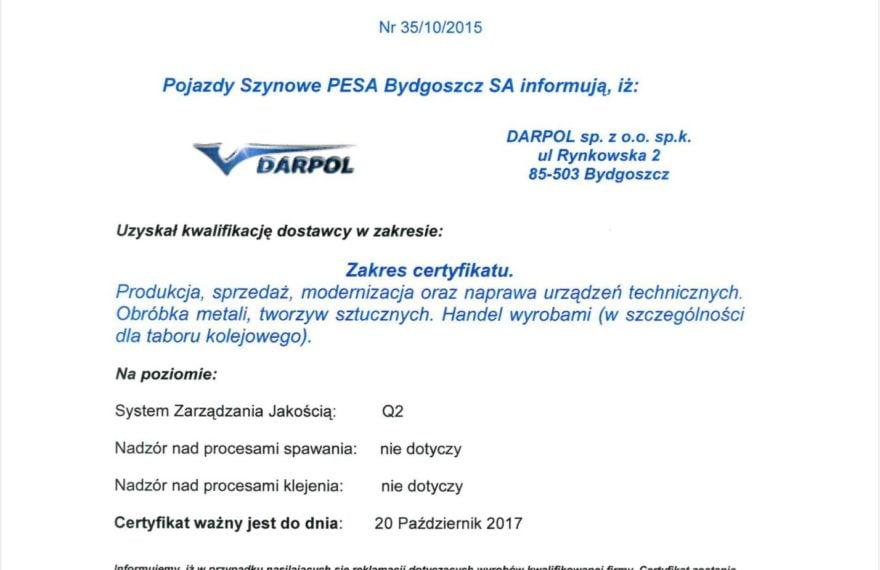 DARPOL-qualified supplier to PESA